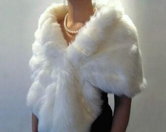 White bridal faux fur wrap faux fur shrug faux fur stole faux fur shawl cape A001-White