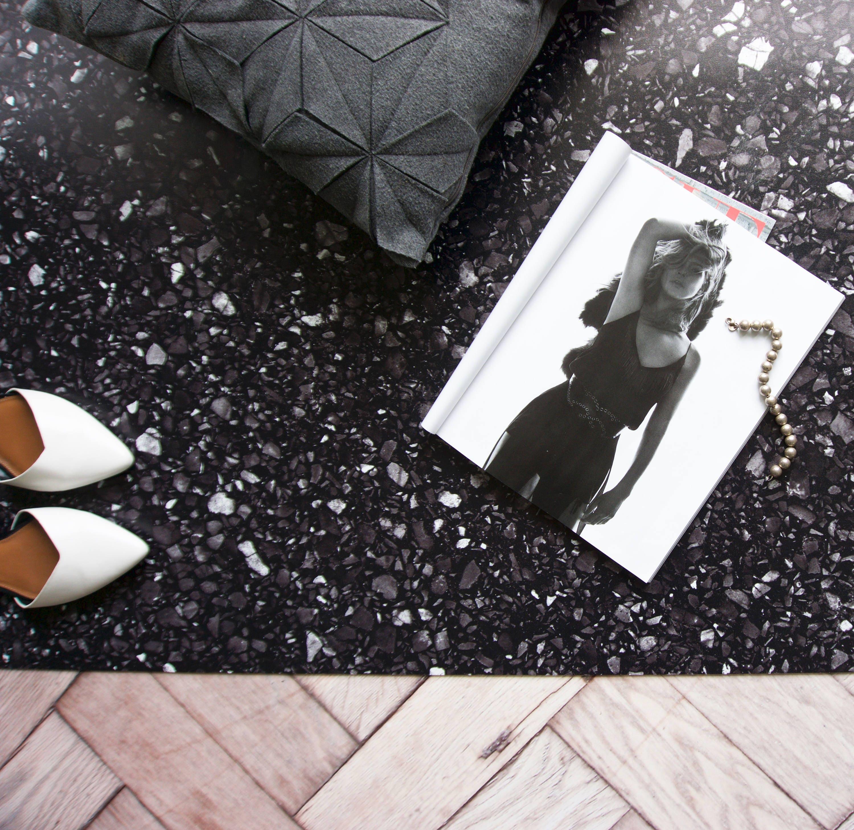 Schwarze Küche Teppich moderner Terrazzo-Teppich