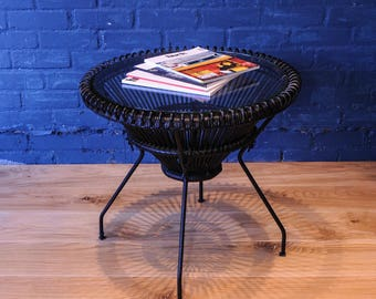 Franco Albini Italian upcycled coffee table made from woven rattan cane with round steel cone under frame and glazed top Read-Shipping-Info