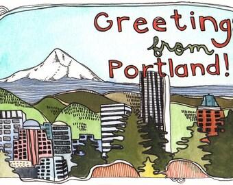 Portland Postcards - Postcards - Set of Postcards - Oregon Postcards - Illustrated Portland Postcards - Set of Three Portland Postcards