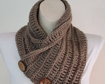 Brown Crochet Scarf, 3 Button scarf, Wrap cowl, Mocha Shoulder Warp, chunky Boston Harbor Scarf, Neck Warmer chocolate
