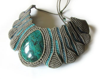 Chrysocolla Macrame Grey/Gray & Blue Turquoise necklace handmade with natural chrysocolla stone mineral drop shape cabochon 47mmX34mm