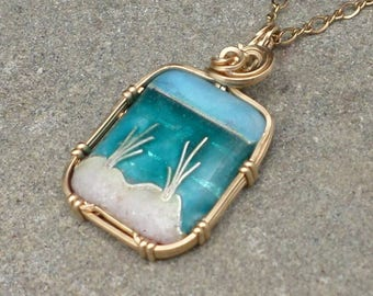 "Cloisonne Beach Scene Mini with REAL BEACH SAND Necklace in Sterling Silver 16"" chain"