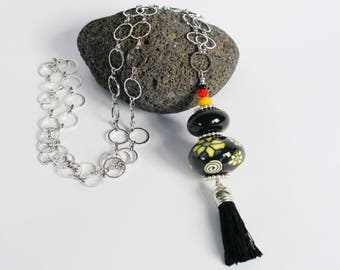 Black and yellow tassel necklace