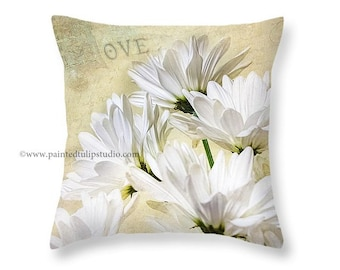 White Daisies Romance and Love Square Pillow Fine Art Photography Home Decor