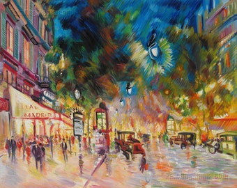 Paris by Night - Konstantin Korovin hand-painted oil painting reproduction,vivid colorful night street scene,living room wall art decoration