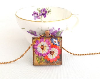 flower necklace, postage stamp jewelry, bright flower pendant, Burundi 1973 vintage stamp cinerarias