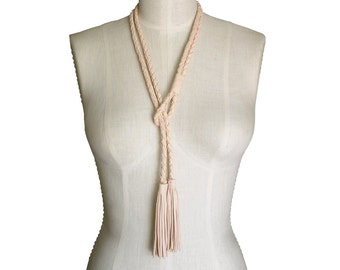 LEATHER TASSEL NECKLACE Choker Multi Strand Braided Leather Rope Lariat Nude Leather Wrap Choker Natural Leather Necklace Skinny scarf Braid