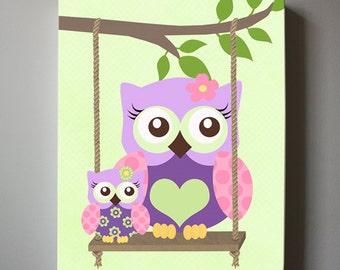 OWL Wall Art Nursery Canvas Canvas Art , Owl Decor Girl wall art - OWL canvas art, Baby Nursery Purple Owl Art