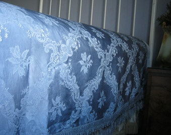 Beautiful Vtge 1930's Silk Lilac Blue Grey Damask Bedspread Bedcover Coverlet with Fringe ~ Double - Queen