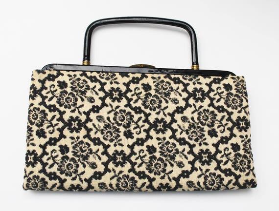Gavay Floral clutch bag - black floral embrodery  - gold black off white  - vintage purse