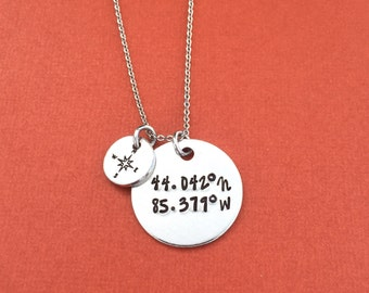 Coordinates Hand Stamped Necklace Jewelry - Grad Gift - GPS Coordinates - Personalized Jewelry - Custom Coordinates - Latitude Longitude
