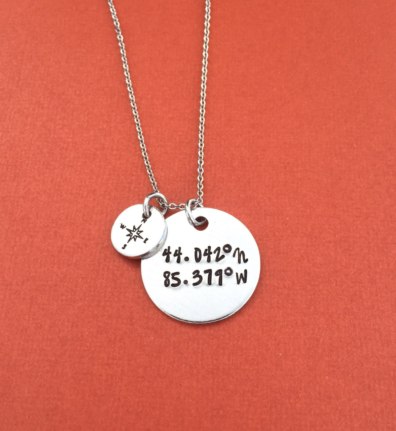 Gps Coordinates Necklace: Coordinates Hand Stamped Necklace Jewelry Grad Gift GPS
