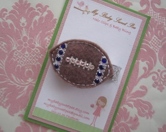 Girl hair clips - football hair clips - girl barrettes