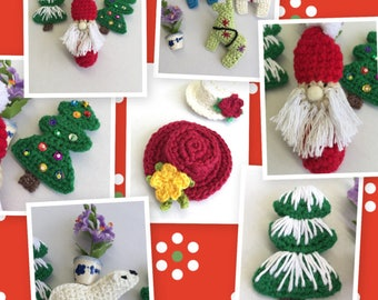 Handmade Brooches - Christmas Brooches - Crocheted Brooches