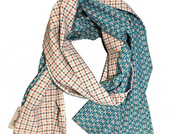 Blue and white cotton reversible scarf