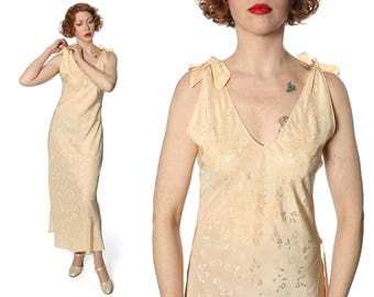 vintage 1930s lingerie silk nightgown • pagoda embroidered silk slip