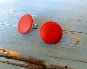 Red Stud Earrings | Matte Red Button Earrings | Retro Vintage Lucite Studs | Leetie Lovendale