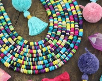 Fruit Salad Mix : Blue, Yellow, Purple, Cream, Green, Multicolor Bone Rondelle Beads, 5x2mm, Dyed Bone, Tribal, Boho, Yoga Style 240+ pcs