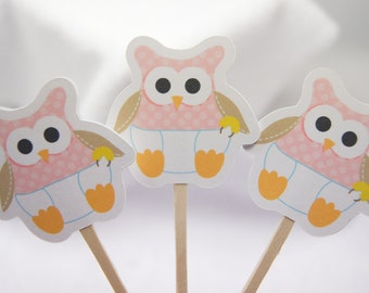 Baby Girl Owl Cupcake Toppers Food Picks Party Picks - set of 12 - CT052