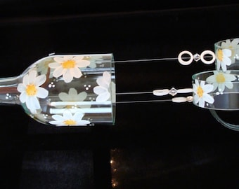 """Wind Chime, """"White Daisies"""" made from recycled wine bottle -  transformed into a Wine-Chime!"""