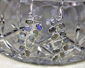 Labradorite earrings, gray earrings, dangle earrings, .925 Sterling silver earrings, drop earrings, Mother's Day gift