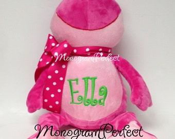 Personalized Pink Frog Stuffed Animal