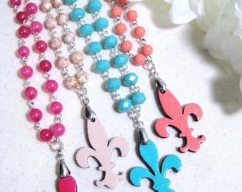 Fleur de lis Necklace, Fleur de lis Jewelry, New Orleans Jewelry, Louisiana Jewelry, Beaded Fleur de lis Necklace- Vieuxtique Jewelry