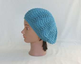 Mothers day - Beret fashion - woman - wool - Turquoise Blue - lace pattern - hand knitted Hat - spring summer fashion accessory-