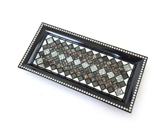 GLAM Mosaic Tray, Black Silver and Mirror Glass Vanity Tray, Sparkly Mosaic Candle Tray, Silver Candle Stand, Dresser Caddy, Perfume Caddy