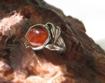 Carnelian ring, Women's silver ring, Silver ring for women, Handmade silver ring, Silver ring with stone, cornelian ring