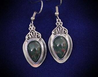 Heliotrope Bloodstone Earrings Sterling Silver