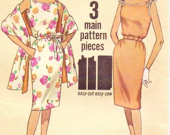 60s Womens Summer Sleeveless Dress & Stole Simplicity Sewing Pattern 4471 Size 16 Bust 36 Vintage Jiffy Sewing Pattern