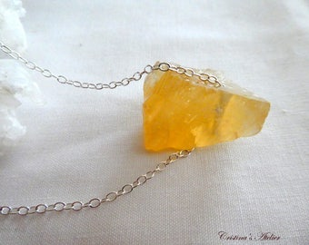 Raw honey citrine calcite pendant- Sterling silver chunky gemstone jewelry- Rough citrine calcite crystal pendant- Women jewelry- gift