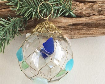 BEACH DECOR CHRISTMAS ornament, glass ball with brass net, sea glass ornament, nautical Christmas, coastal Christmas ornament, 3.5""