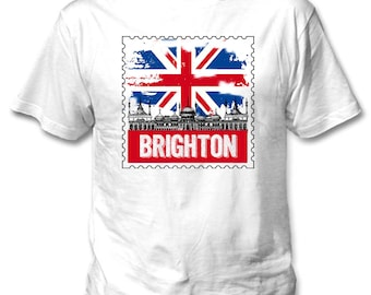 Brighton England - Man new cotton white t-shirt