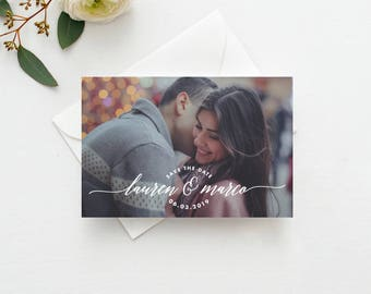 Lettering Photo Save the Date Postcard / Magnet / Flat Card - Save the Date Magnet, Photo Wedding Magnet, Wedding Save the Date