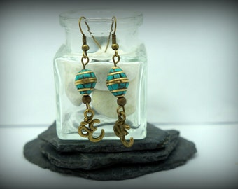 Nepalese earrings turquoise blue synthetic ohm bronze
