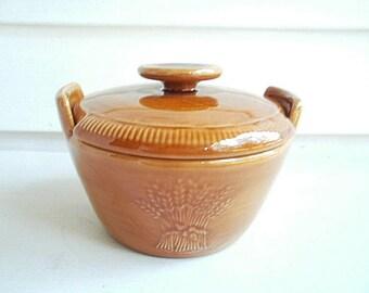 Franciscan Wheat Golden Brown Sugar Bowl & Lid, Vintage Covered Sugar Bowl