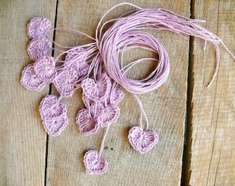 Crochet heart applique, mini hearts, embellishments,applique, 15 tiny heart, small wedding favor, scrapbooking,wedding decorations,cards