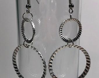 Silver hoop earrings, hoop earrings, double hoop earrings, simple earrings, dangle earrings, gift for her, gift for mom