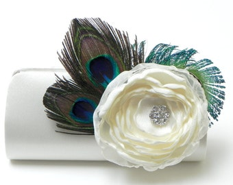 Ivory Bridal Clutch * Bridesmaid Clutch * Rhinestone Peacock Feather Clutch * Boho Bridal Bouquet Flower Clutch