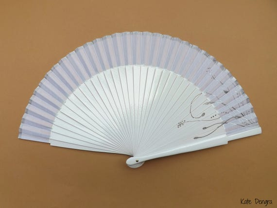 White and Silver Plain Design Bridal Wooden Hand Fan SIZE OPTIONS Flamenco Folding Handheld Fan by Kate Dengra Spain