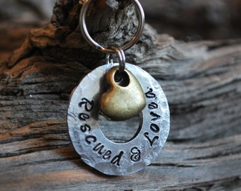 Dog Tag / Pet ID Tag / Funny Pet ID Tag /Personalized / Pet Charm / Hand Stamped / Rescued and Loved