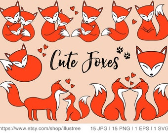 Cute foxes, digital clip art set, baby fox, little fox, clipart, nursery art print, wall art, scrapbooking, EPS, SVG, instant download