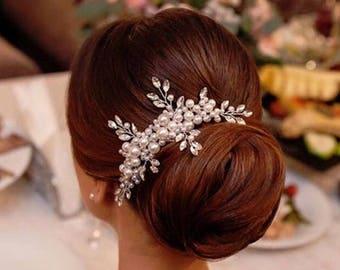 Wedding hairpiece, Wedding hair comb, Pearl Hair Comb, Bridal Hair Comb, Bridal Hair Piece, Pearl Hair Accessory, Wedding Hair Piece
