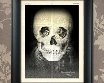 L' Amour de Pierrot, Salvador Dali, Optical Illusion Art, Salvador Dali Print, Dali Art, Dali Wall Art, Dali Poster, Skull Print, Skull Art