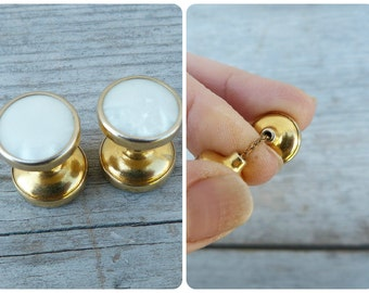 Vintage Antique 1920 old French mother of shell round chain cuff links