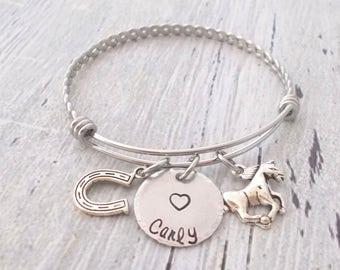 Personalized Horse Bracelet, Horseshoe Jewelry, Horseshoe and Name Adjustable Braided Bangle, Equestrian Gift, Veterinarian Gift, Horse Gift