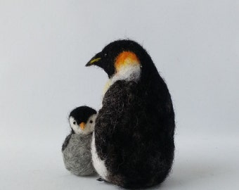 Needle felted Mother and Baby Penguins, Mother's day gift, Penguins